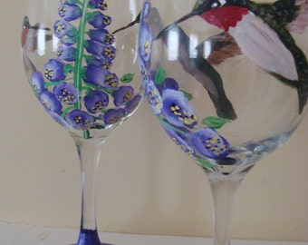 Hummingbirds Wine Glasses with Hollyhocks, purple, 2 hummingbirds, birds, bird lovers, bature,Hand Painted