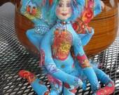 Fiber sculpted whimsical cat fairy with Laurel Burch cat fabric