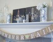 Wedding banner decoration reception, Bridal shower, Bridal shower decor, wedding decor, bunting,banner, garland, LOVE NEVER FAILS