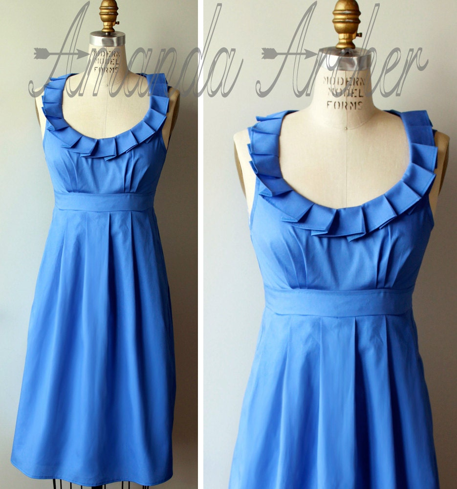 RUSH for DREW Cornflower Blue Dress Bridesmaid Made to