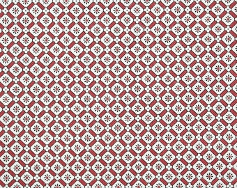 1940's Vintage Wallpaper - Red White and Black Geometric