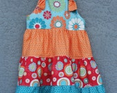 Girls Spring Twirl Knot Dress Orange Crush Dress for Easter - Amievoltaire
