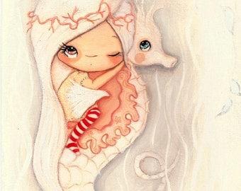 Seahorse Print Pink Little Seahorse Girl Nursery Art