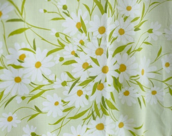 vintage Yellow Daisy Fabric Sheet - 70s - Happy Sunny Flowers
