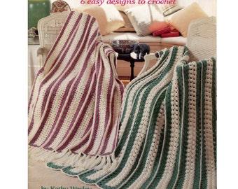 Mile A Minute Afghans - Six Easy Designs Crochet Pattern - American School of Needlework 1107
