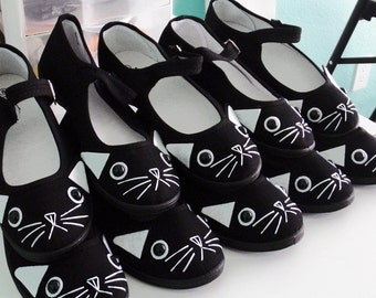 Cat Shoes - Embroidered Kitty Flats Mary Janes- SIZE 11