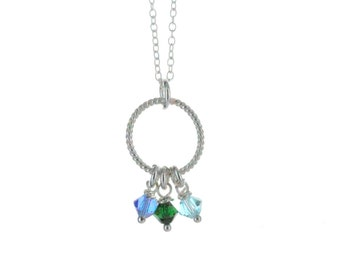 Sterling silver Mother's/Grandmother's necklace, birthstone crystals, you pick colors, K006