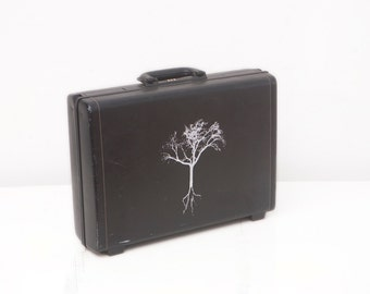Vintage Hardshell Leather Samsonite Briefcase with Screen Printed Tree