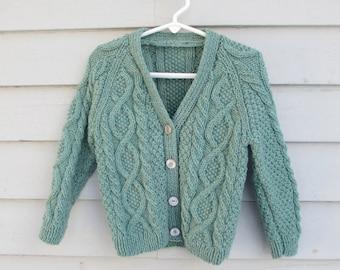 Childs Cardigan, Handknit Wool Sweater in Seafoam Green