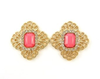 Pair of Deep Coral Rhinestone and Gold Chandelier Earring Findings Gold Filigree Jewelry Components Faceted Stone Pendant Charms  O4-4 2