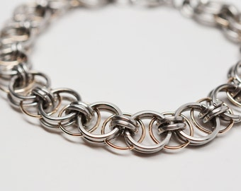 Square stainless steel & 14k white gold fill helm parallel chain chainmaille bracelet