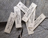 Long Rectangular Rustic Tag - Kraft Brown tags - Ivory slim style tags - Thank you Wedding Tags - Favor Treat tags - Set of 50