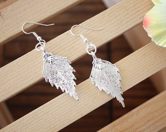 Silver Leaf Earrings, Birch Leaf, Real Leaf Earrings, Sterling Silver, Nature, Tree, Orangnic Jewelry, LESM83