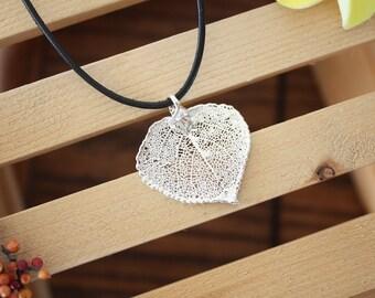 Small Silver Leaf Necklace, Aspen Leaf, Leaf Pendant, Real Leaf , Sterling Silver Leaf, LL41