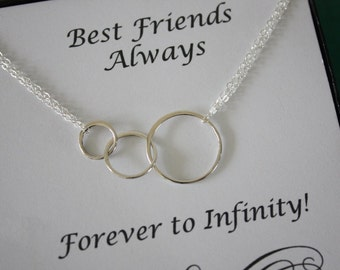 Best Friend Infinity Necklace, BFF, Infinite Friendship, Sterling Silver, Karma, Circles, Thank you card