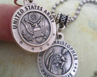Army Protection Necklace, St. Christopher, Patron Saint Holy Medal, Catholic Jewelry