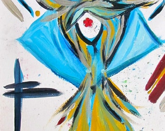 The Unobstructed Warrior 8 acrylic painting on paper