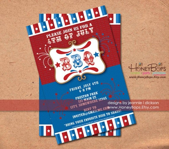 BBQ 4th of July Patriotic Invitation - Custom Invite DIY - Digital File Only