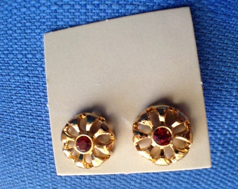 Pair of Vintage Avon New in Box Brilliant Simulated July Birthstone Pierced Earrings with Surgical Steel Posts