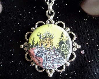 Tarot Card The Empress Pendant on Silver Plated Chain