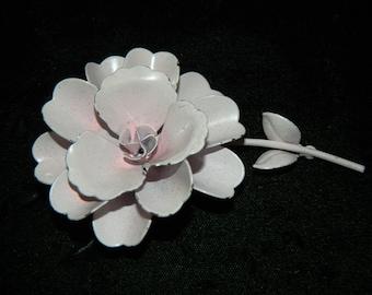 1960's Flower Jewelry Pin Retro, White Soft Pink, Poesy, Flower Power  Hippie Girl Love Peace, Brooch Flower Wedding Bouquet Supply