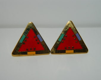 Vintage Laurel Burch For Marie Pierced Earring, Post Earrings, Abstract, Rare Earrings, Multi Colors