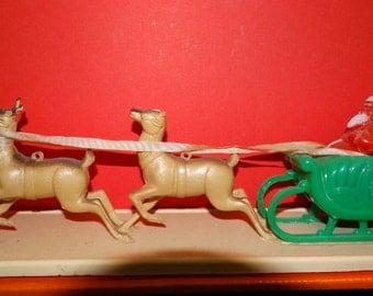 Santa & his Reindeer, Rudolph, Hard Plastic Christmas Tree Ornament, Leaping Reindeer, Brown Reindeer, Christmas Eve