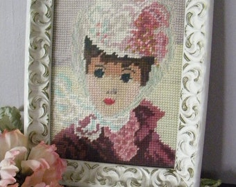 Vintage Needlepoint Huldah Picture in Shabby Frame