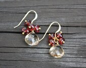 Champagne Citrine Garnet Simple Earrings,Gold Small Earrings, Delicate Gemstone Gold Earrings,Gold Filled Earrings,Gift for her,dainty