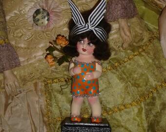 Vintage Bisque Kewpie Doll Flapper Bathing Beauty Repaint