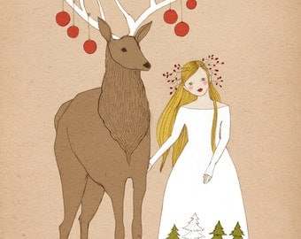 Deer and Girl Christmas illustration art print of original drawing