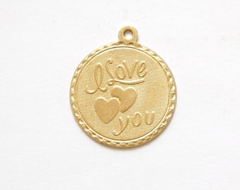 Raw Brass I Love You w/ Hearts Word Charm Drop with Loop (1) chr190RR