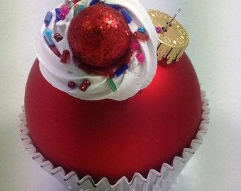Cupcake Ornament - Matte Red