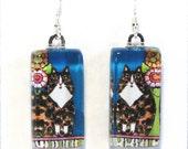 Longhair Tortoiseshell Cat Glass Jewelry/ Tortie Cat Earrings by Susan Faye