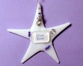 "Alternative Valentine Gift  TRUE LOVE / Fused Glass ""Wishing Star"" by Susan Faye"
