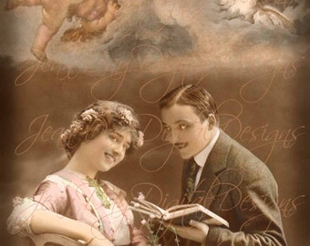 The Romance of Poetry, Valentine, L' Amour, Couple, French Postcard from the early 1900's Instant Digital Download - Gift Tag,  VC009