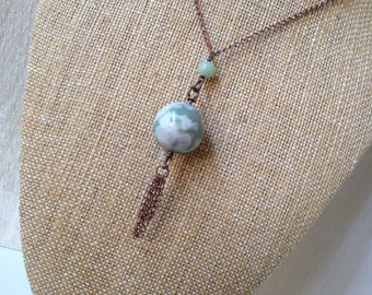 Marbled Stone Tassel Necklace Long Green Necklace Copper Handmade Jewelry Bohemian Jewelry San Diego California USA Handcrafted Artisan