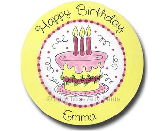 11 inch Personalized Birthday Plate - Little Flower Cake Design