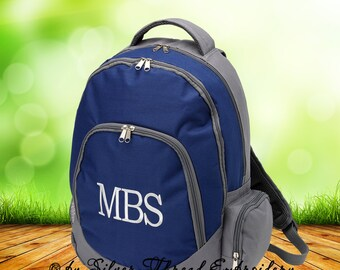 Personalized Backpack Navy Blue Gray Classic School Boys Initial Name Monogrammed