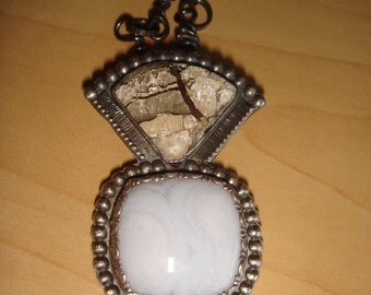 SALE: Blue Lace Agate and Silver in Quartz Pendant with Handmade Chain