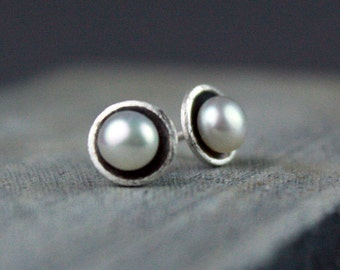 Small Pearl Studs, White Pearl Post Earrings, Minimalist Earrings