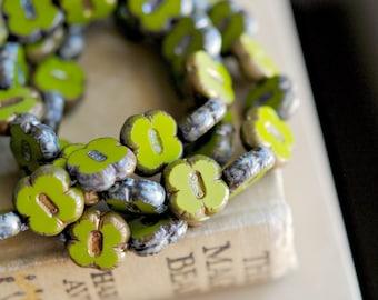 Green Clovers - Czech Glass Beads, Opaque Olive Green,Metallic Picasso,Clover Flowers 12mm - Pc 6