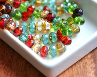 Summer Martini - Czech Glass Beads, Transparent Peridot, Red, Aqua, Picasso, Rondelle Mix 6x8mm - Pc 10