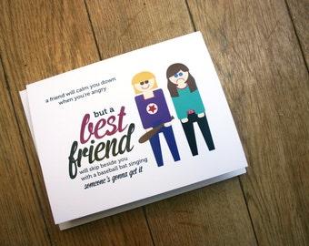 Best Friend blank card BFF forever - digital download card
