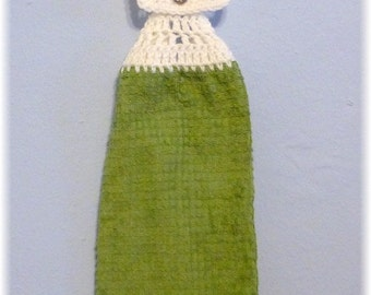 Hanging Kitchen Towel Olive Green with White Top