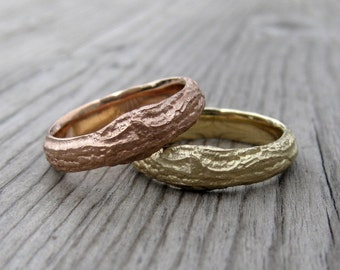 Branch Wedding Band Set: Rose, Yellow, or White Gold; Set of Two Rings
