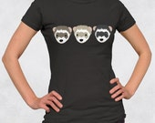 Ladies' Tee  - Three Ferrets Shirt - Sizes S-M-L-XL-2XL - Cute Small Animals Ferret Lover Womens Tshirt
