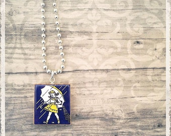 Morton Salt Girl Necklace, Scrabble Tile Necklace, Initial Necklace, Scrabble Pendant, Scrabble Jewelry, Customized Necklace, BFF Gift