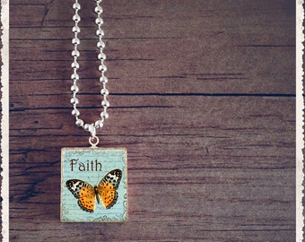 Scrabble Game Tile Necklace - Faith Butterfly - Scrabble Pendant Charm Jewelry - Customize