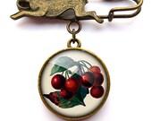 Vintage Cherries Hare Pin Brooch (ER02)